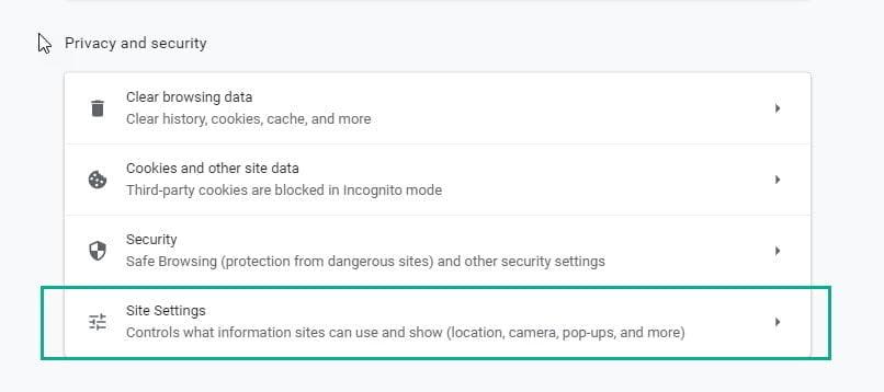 Google Chrome - Site Settings